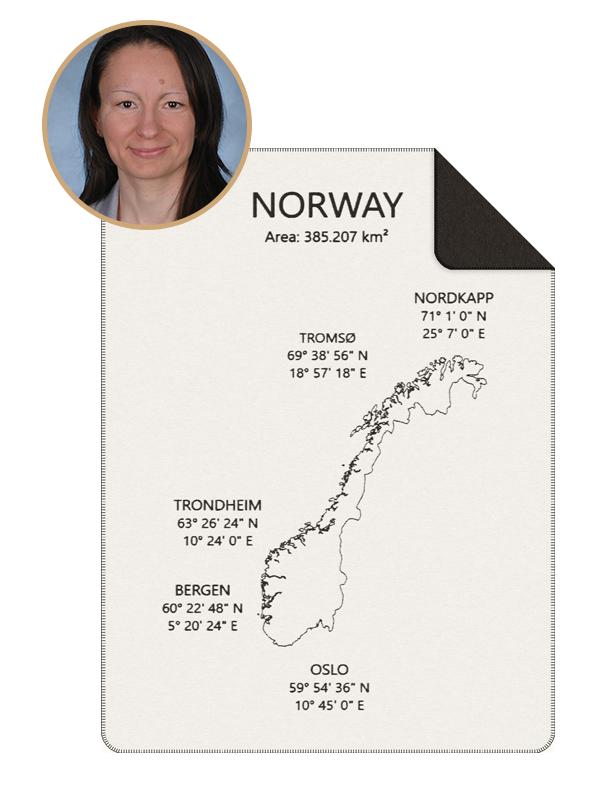 Design der Kuscheldecke Norwegen-Kolter mit Profilbild der Zeichnerin